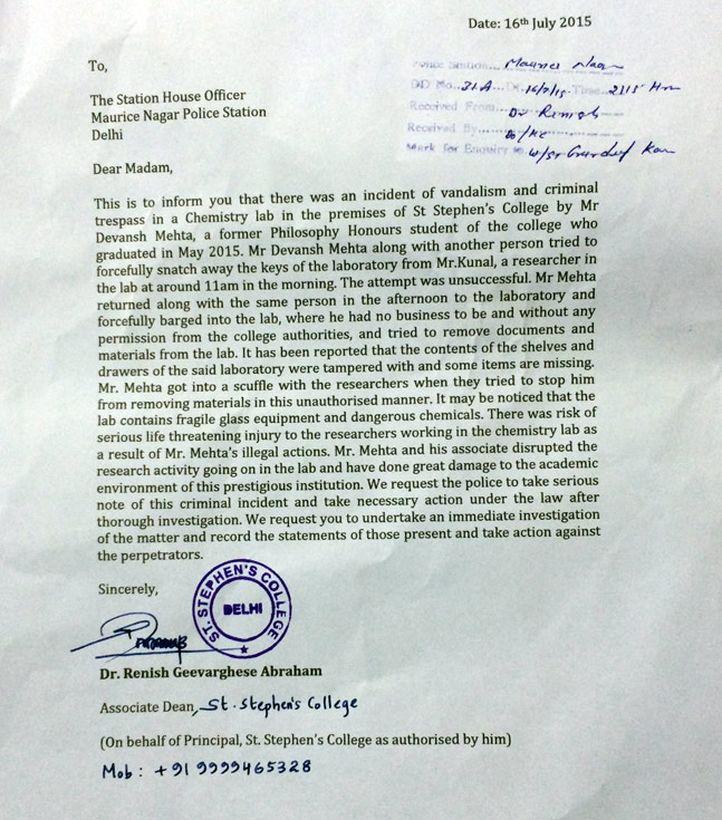 St stephens registers complaint against ex student devansh mehta title thecheapjerseys Gallery